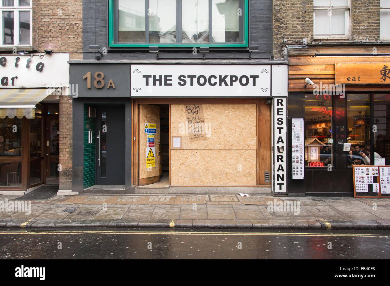 Exterior of the former Stockpot restaurant in SOHO, London, UK Stock Photo