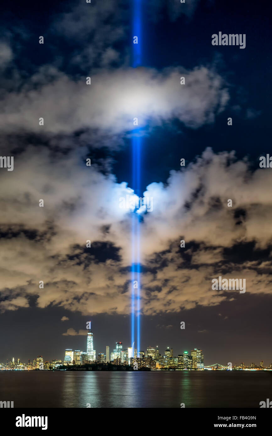 New York City September 11 2015 commemoration with the Tribute in Light in Lower Manhattan near the One World Trade - Stock Image