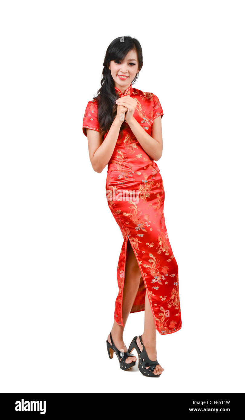 Pretty Girl With Cheongsam Wishing You A Happy Chinese New Year On