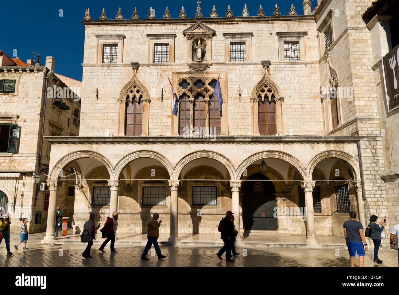 The Sponza Palace in the Stradun, in Dubrovnik. - Stock Image