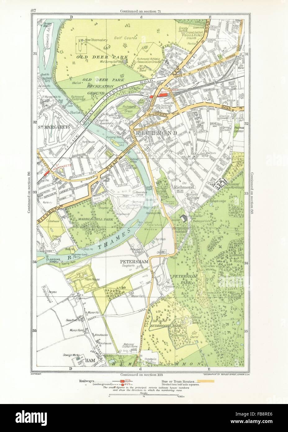 Richmond London Map.London Ham Petersham Richmond Richmond Hill St Margaret S 1933
