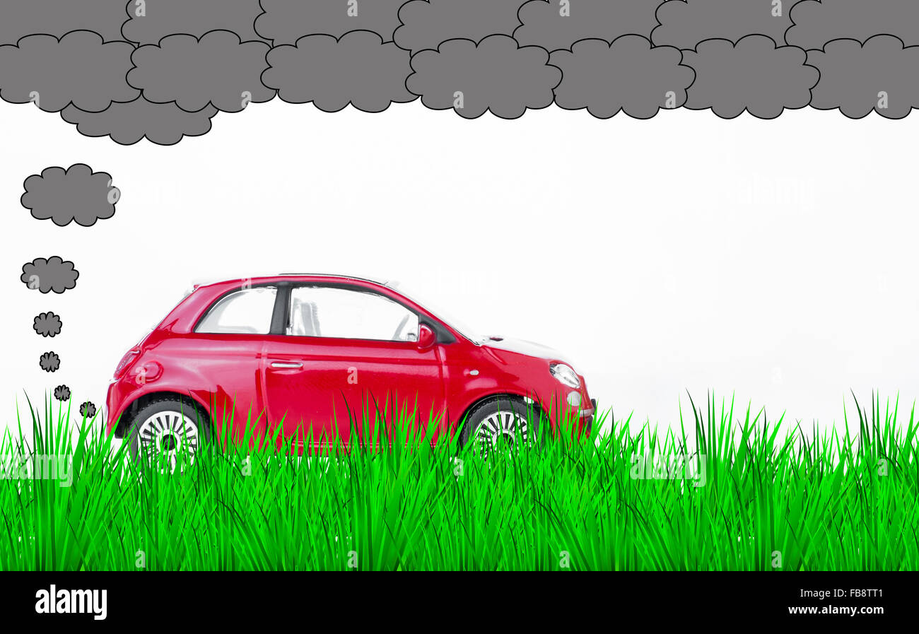 A car polluting the air and the environment - Stock Image