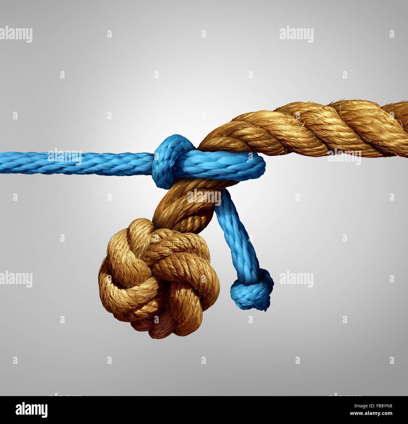 Different sized partnership concept as a thin blue cord pulling on a very thick rope as a metaphor for small and - Stock Image
