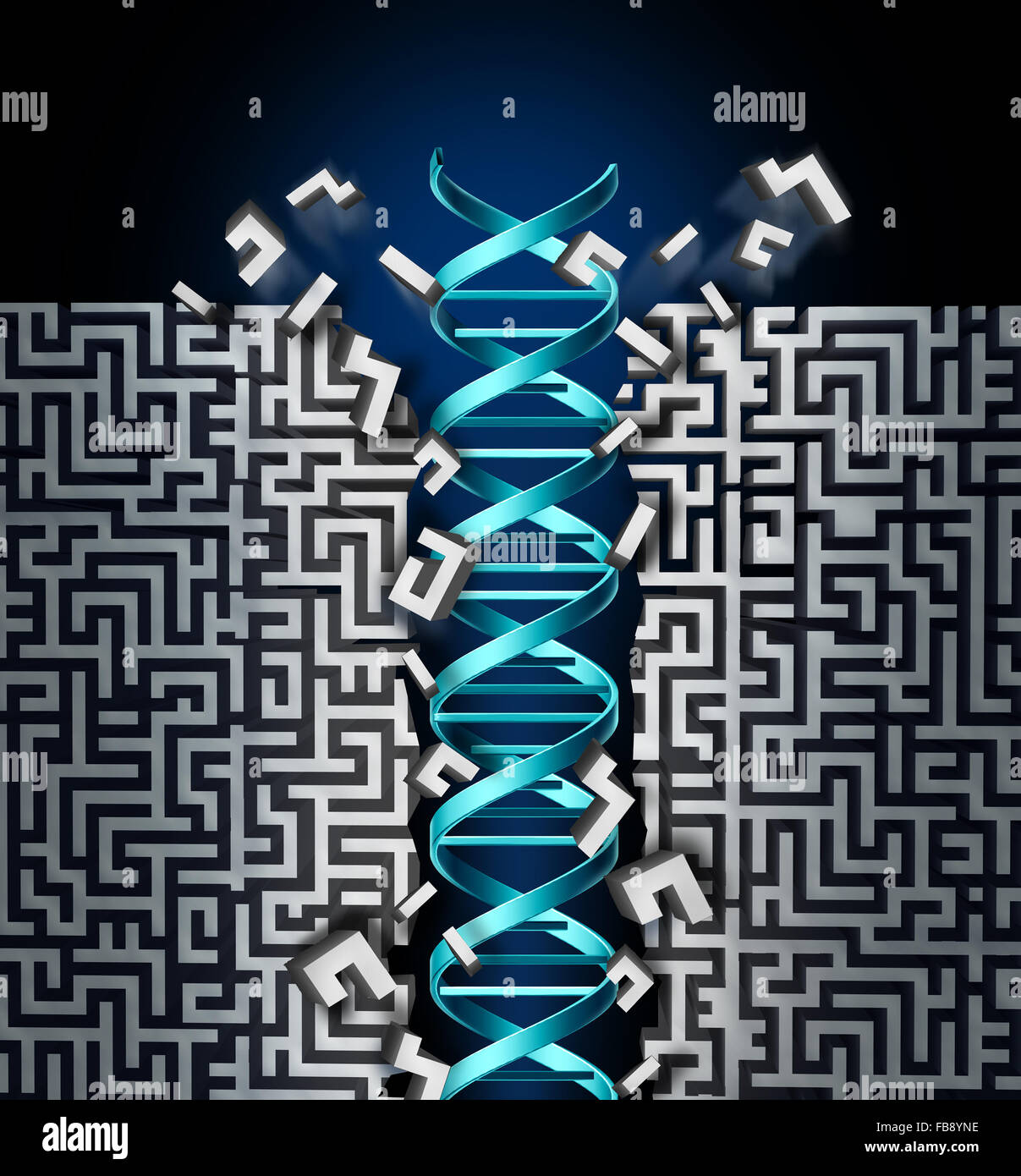 Genetic research success concept as a medical scientific breakthrough symbol with a dna strand breaking through - Stock Image