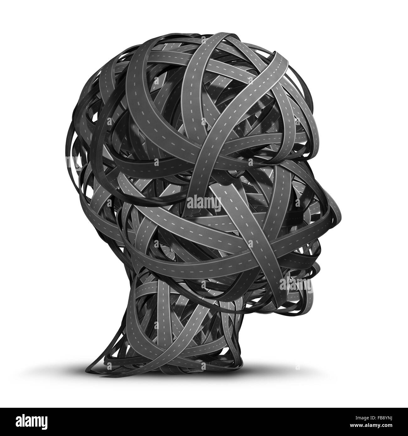 Human transportation and career direction concept as a group of twisted connected roads shaped as a head profile - Stock Image
