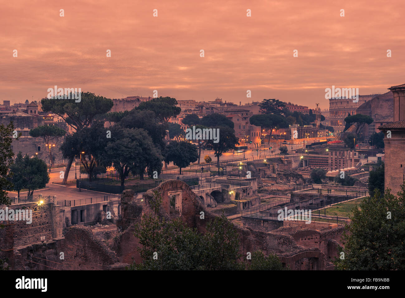 Rome, Italy: The Roman Forum in the sunrise - Stock Image