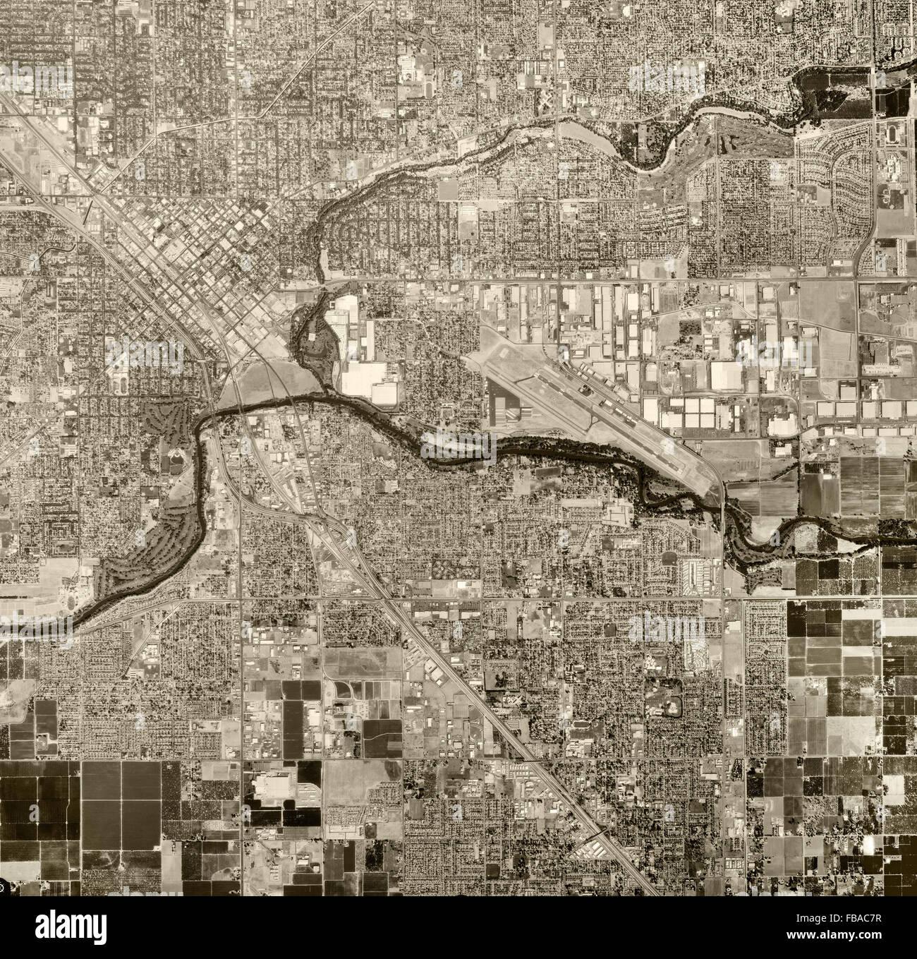 historical aerial photograph Modesto, Stanislaus County, California, 1998 - Stock Image