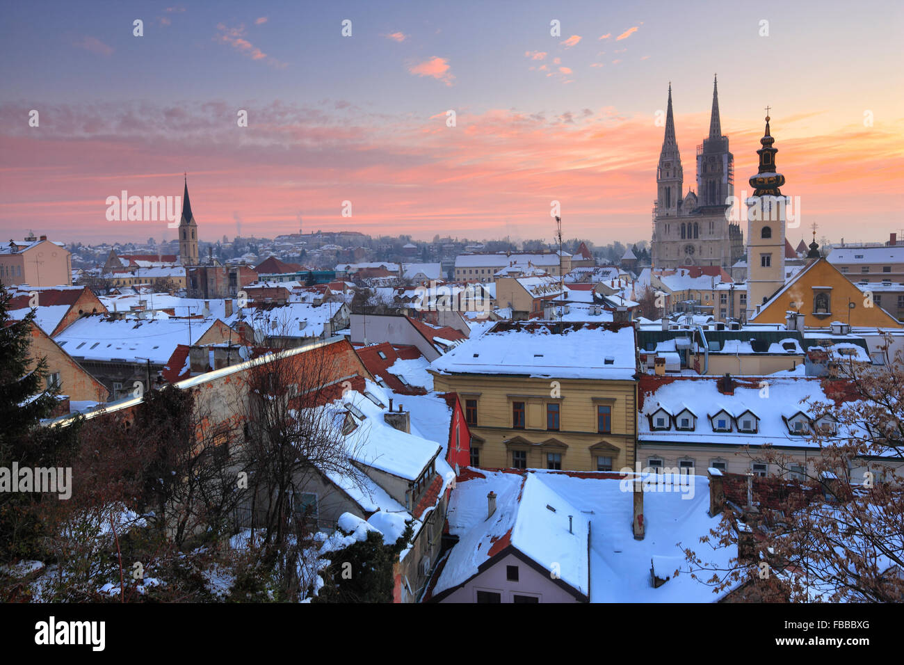 Panorama of Zagreb in winter. Cathedral on the back of the picture. - Stock Image