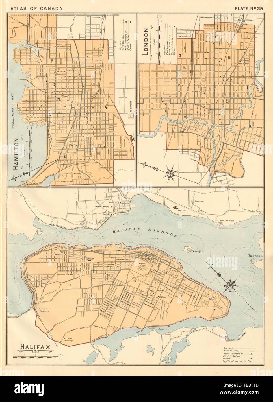 CANADIAN CITY PLANS Hamilton London Ontario Halifax NS WHITE