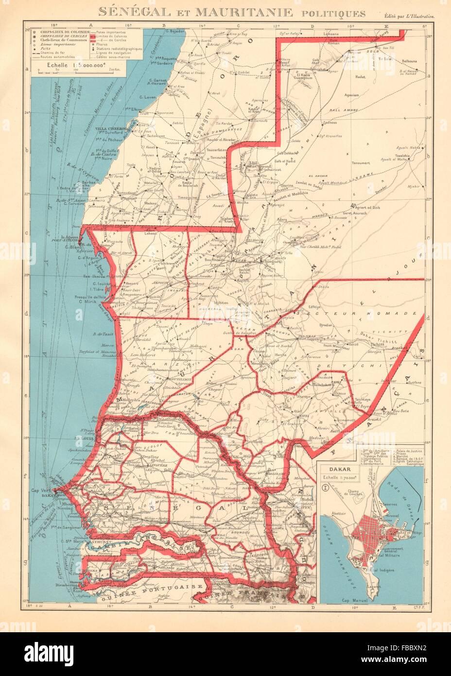 Senegal On Africa Map.French West Africa Senegal Mauritanie Mauritania Dakar Plan