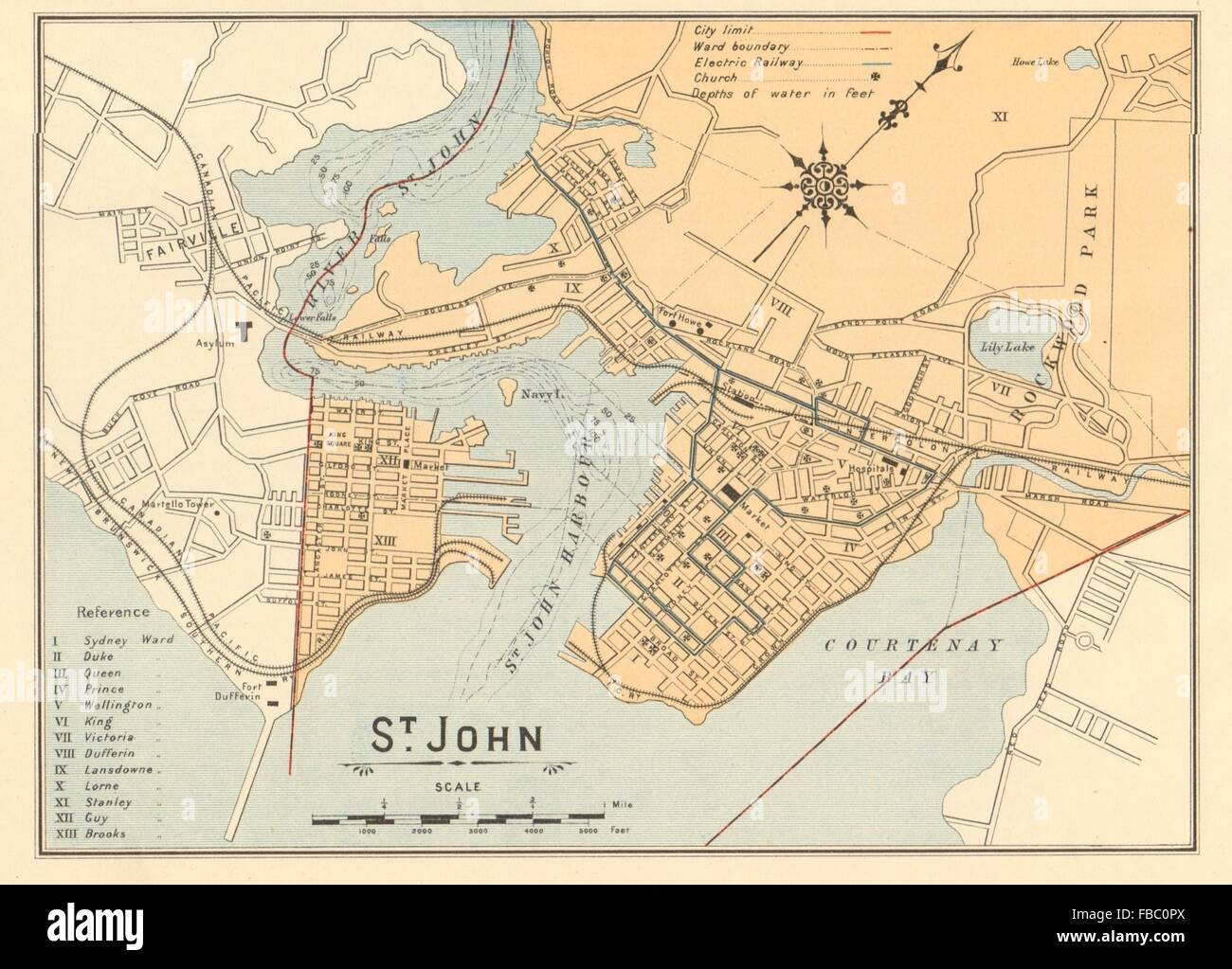 St John Town City Plan Saint John New Brunswick Canada White