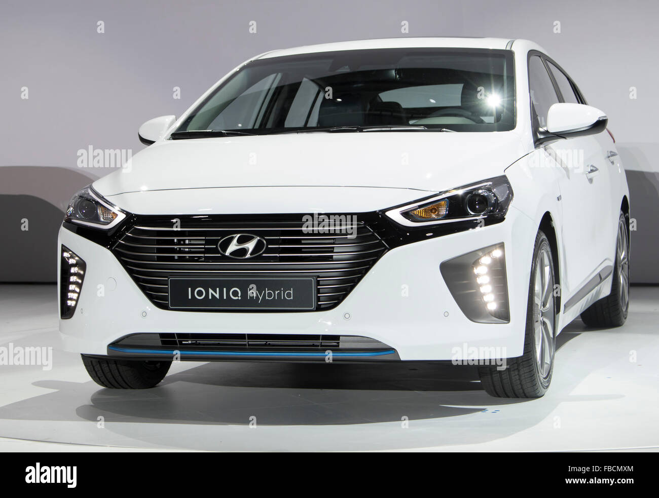 Ioniq Hybrid, Jan 14, 2016 : Hyundai Motor's Ioniq hybrid is seen during a press conference in Seoul, South - Stock Image