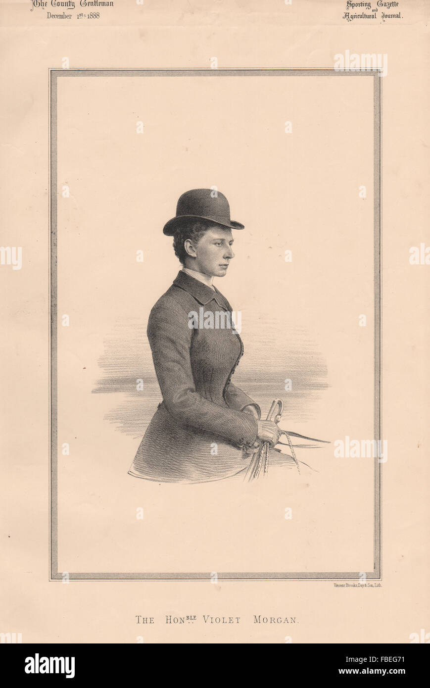 The Honourable Violet Morgan, antique print 1888 - Stock Image