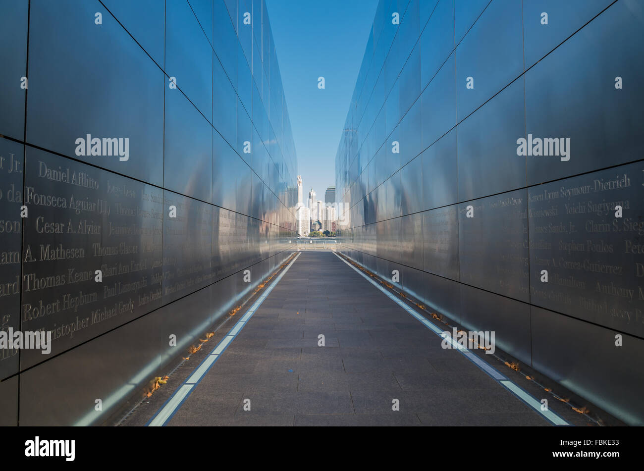 Empty Sky memorial to September 11th; situated in Liberty State Park in Jersey City and looking across to NYC. - Stock Image