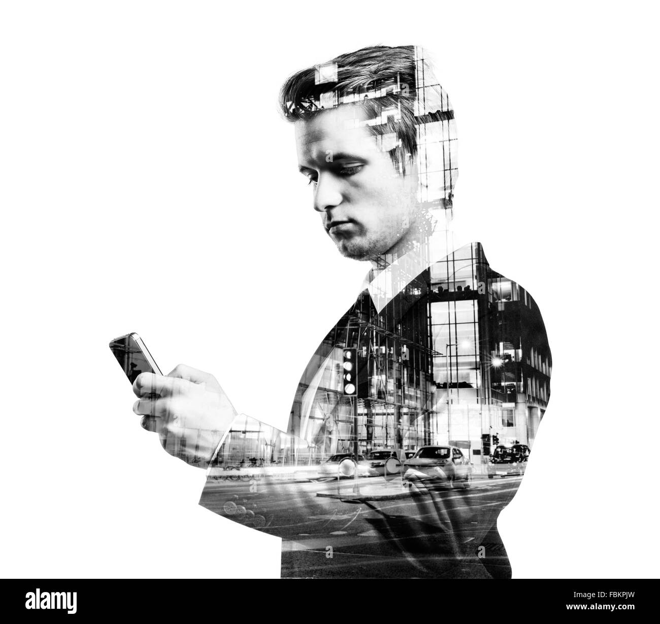 Double exposure of businessman. - Stock Image