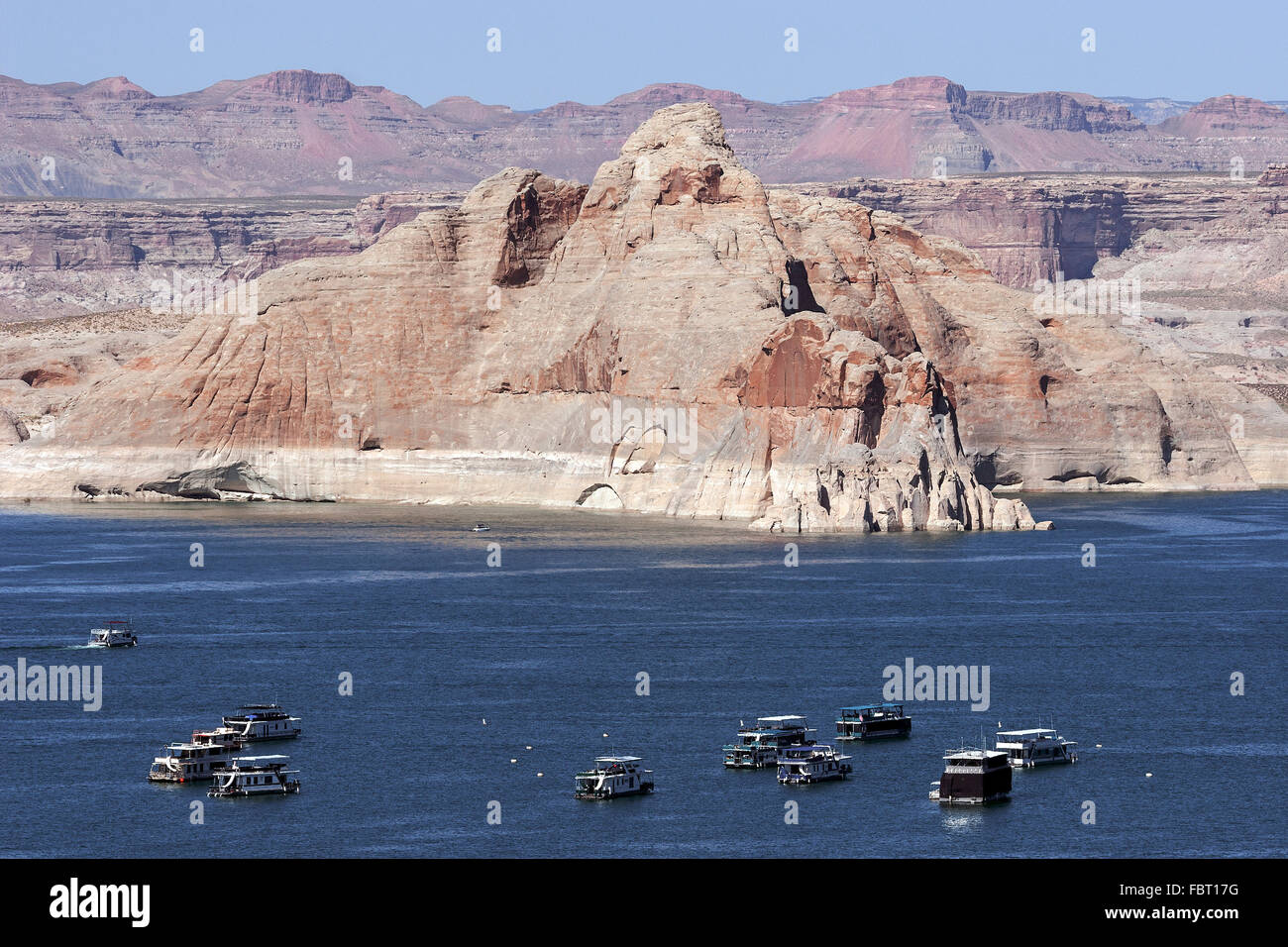 Castle Rock, houseboats in Wahweap Marina, Lake Powell, Page Stock ...
