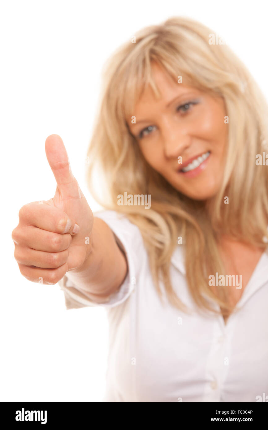 mature woman giving thumbs up stock photos & mature woman giving