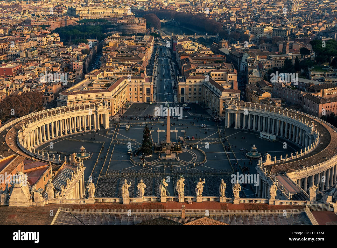 Aerial view of Vatican City and Rome, Italy - Stock Image
