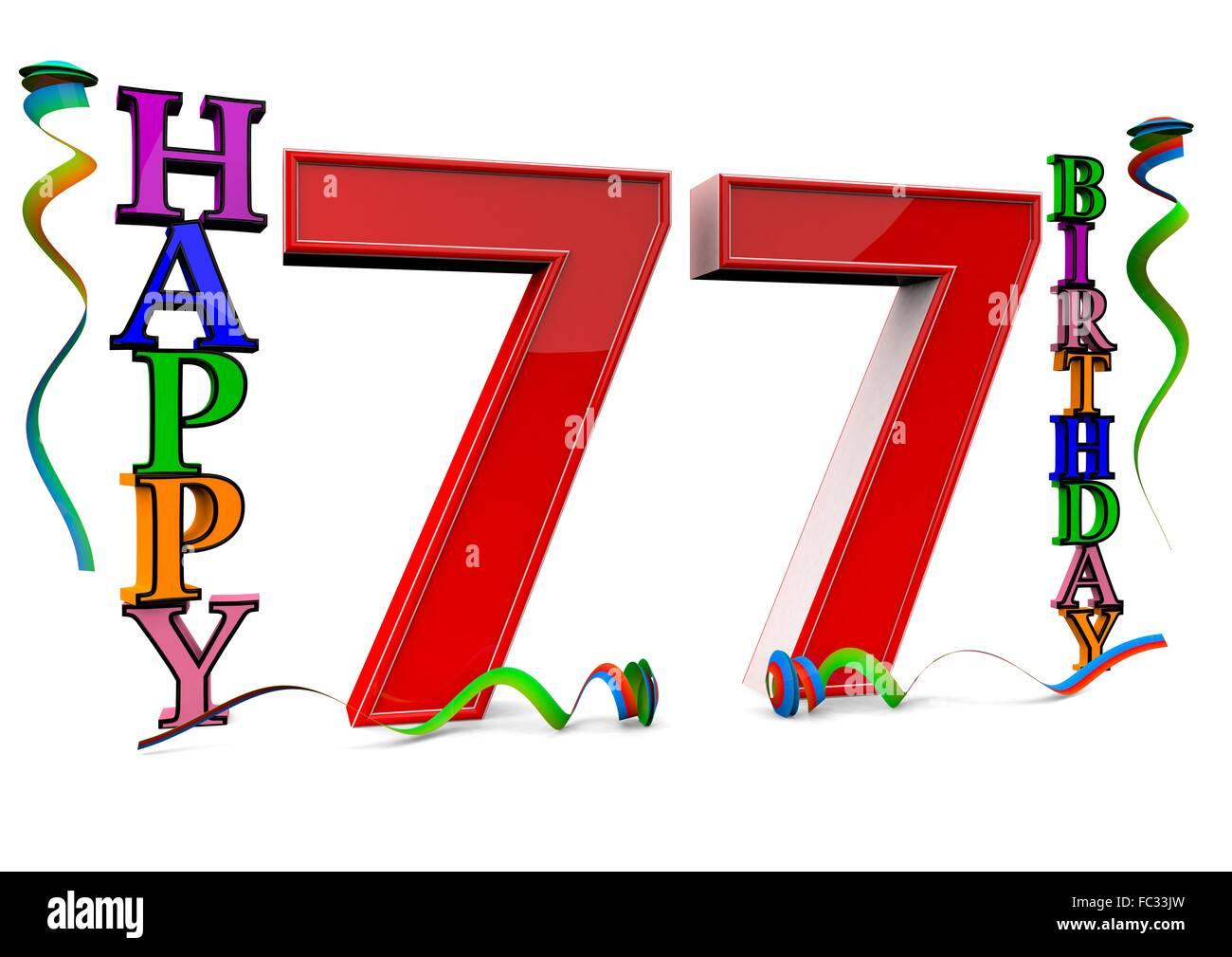 Happy 77 Birthday Stock Photo 93496449