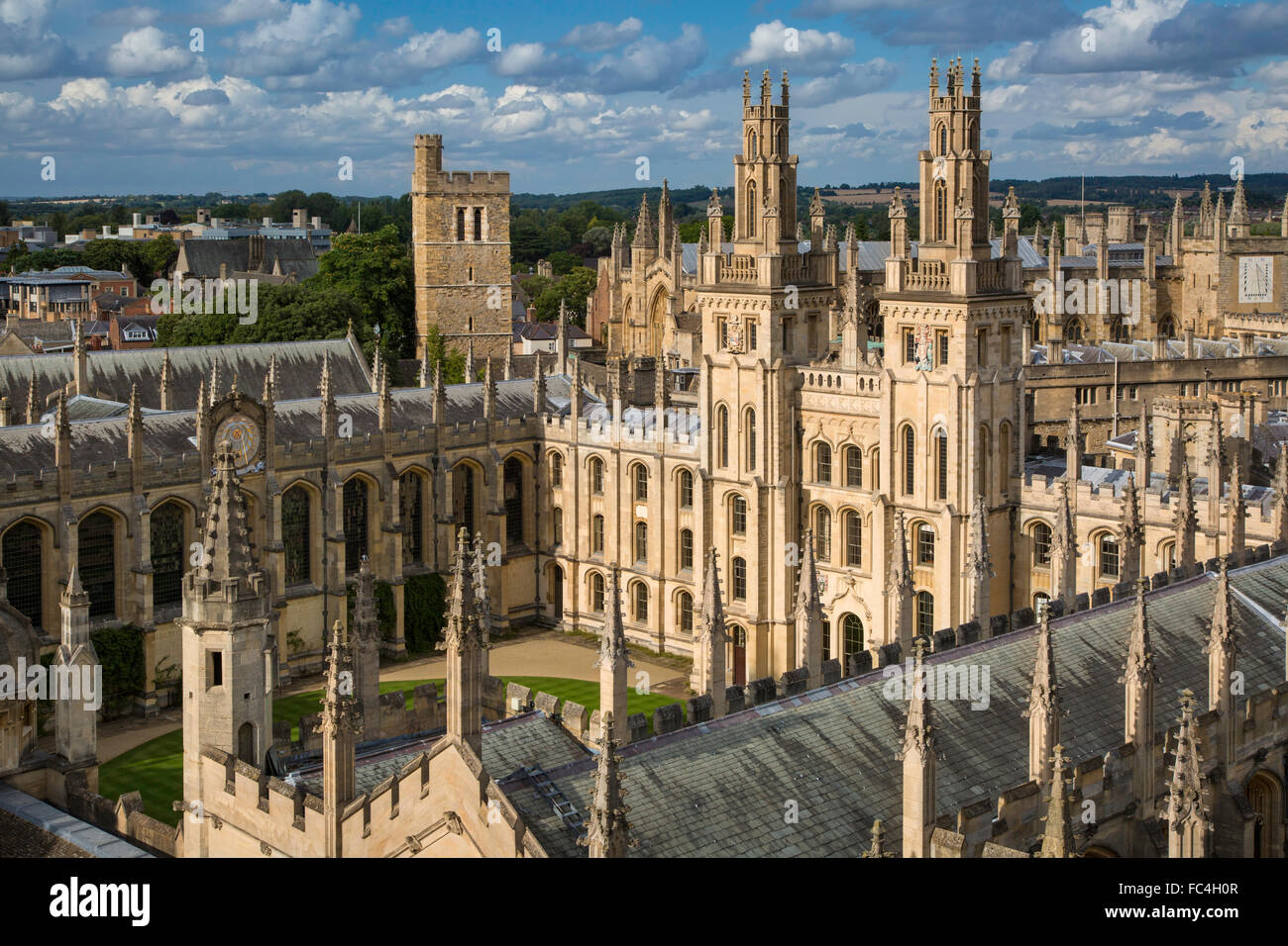 All Souls College and the many spires of Oxford University, Oxfordshire, England Stock Photo