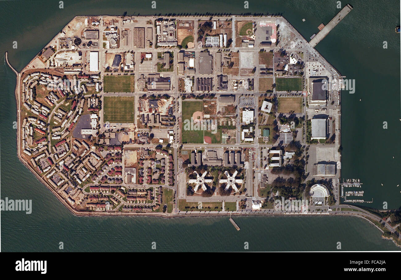 aerial map of Treasure Island, San Francisco, California - Stock Image