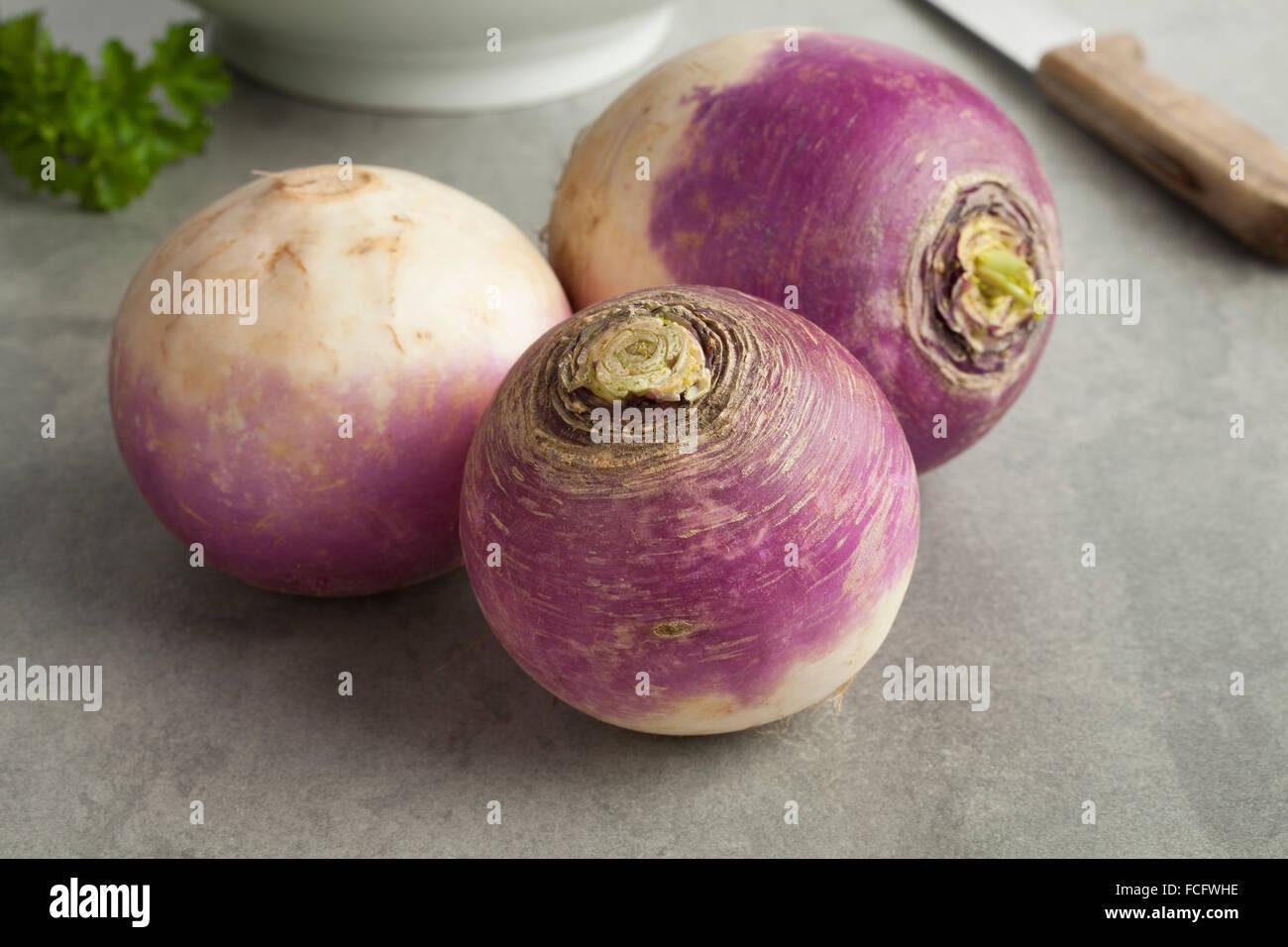 Fresh raw white turnips - Stock Image
