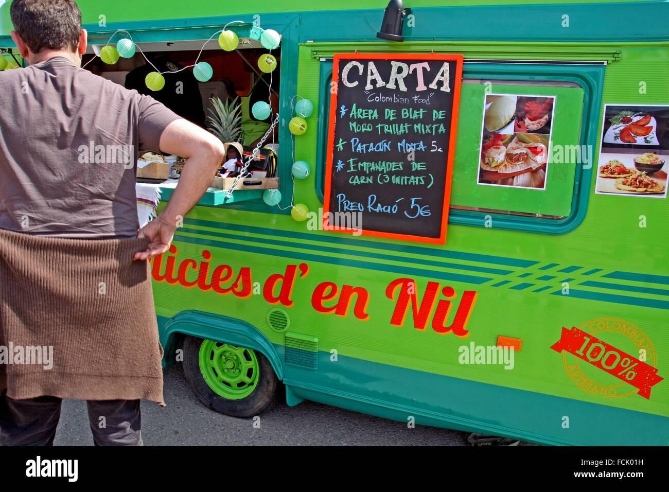 Food truck, vintage caravan - Stock Image