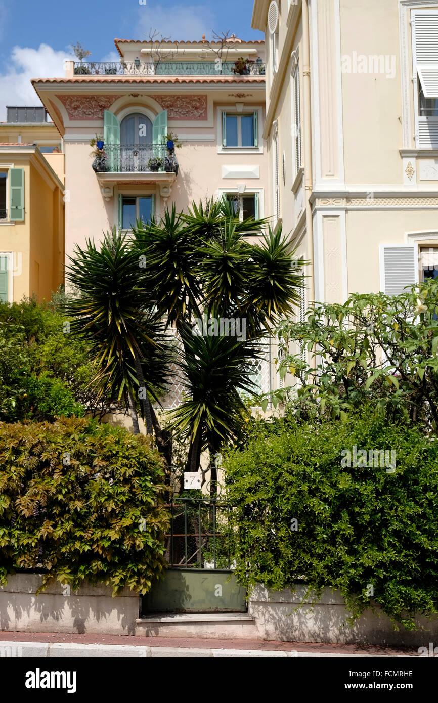 Wealthy apartment building in Monaco. - Stock Image