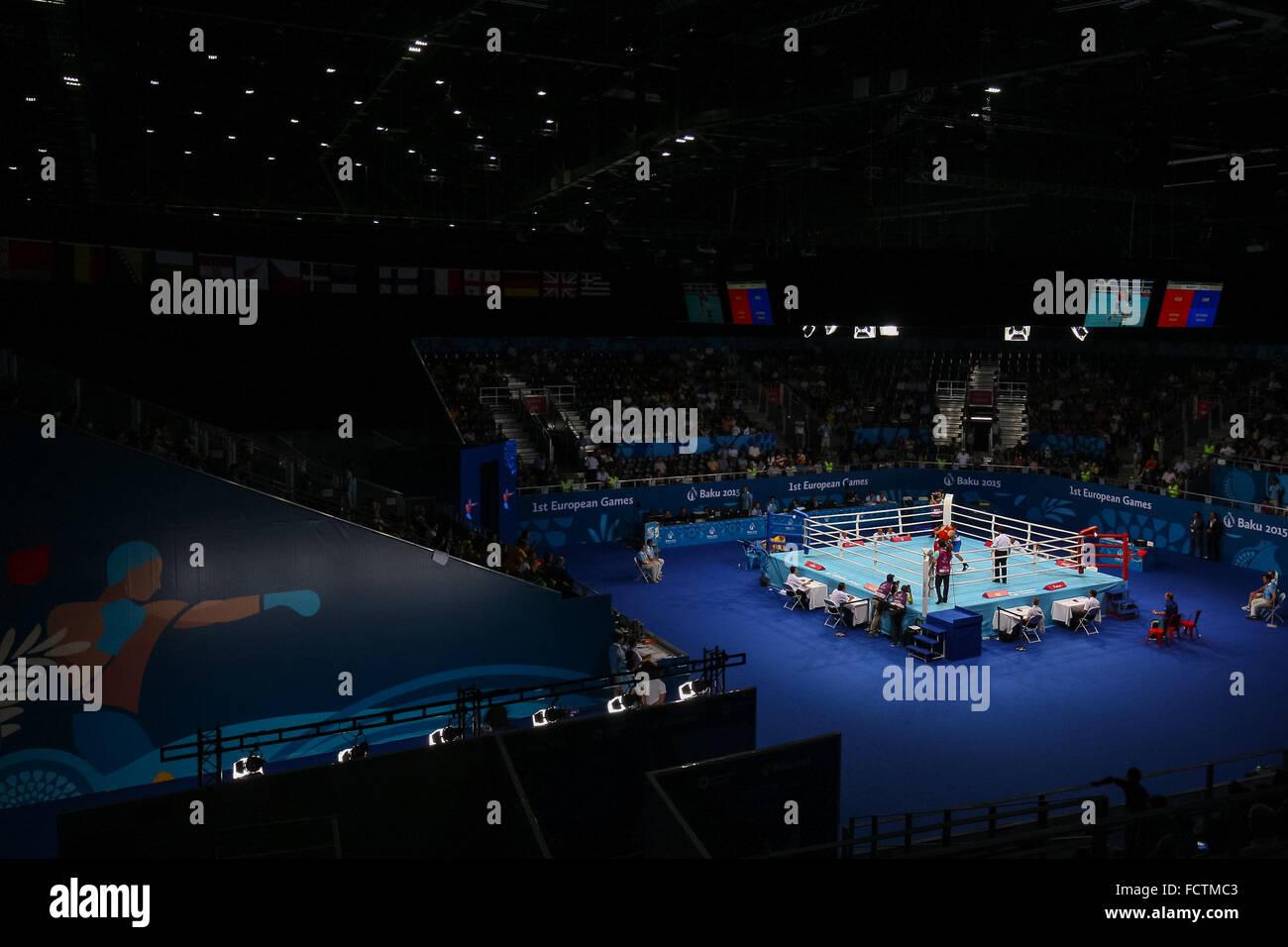 A general view of the boxing. Crystal Hall. Baku2015. 1st European Games. Baku. Azerbaijan. 22/06/2015 - Stock Image