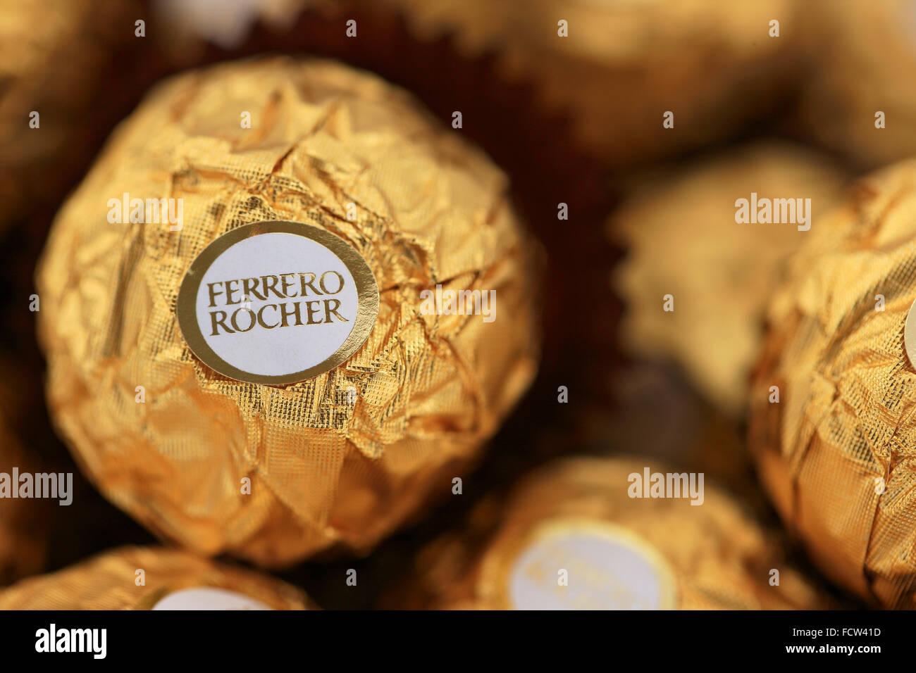 Ferrero Rocher chocolates Stock Photo