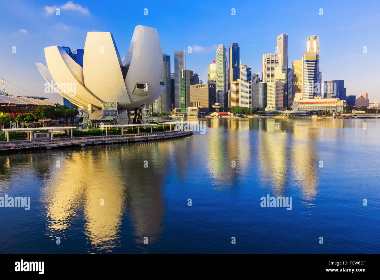Singapore City, Singapore. Marina Bay and the skyline. - Stock Image
