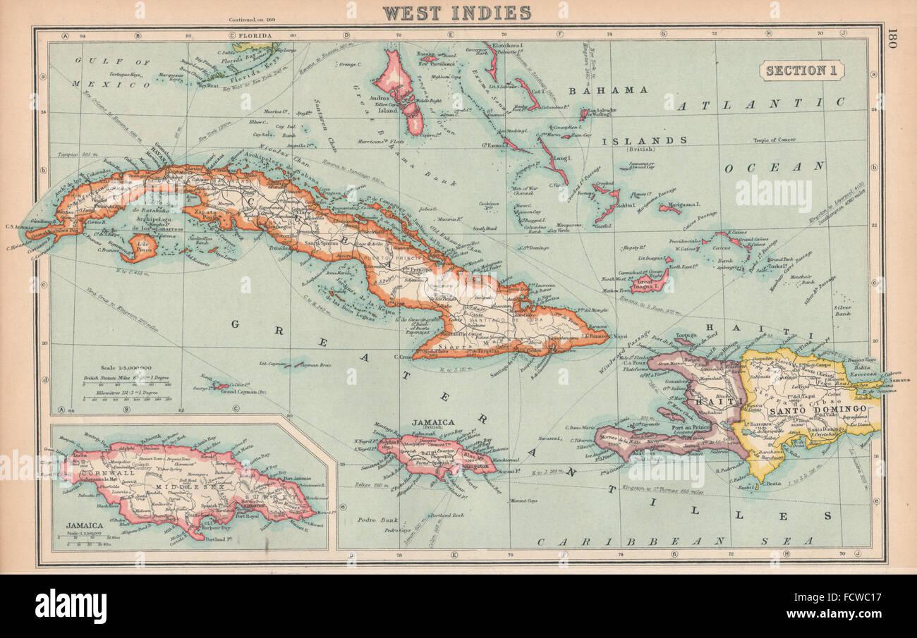 WEST INDIES Cuba Jamaica Bahamas Hispaniola BARTHOLOMEW - Vintage map of jamaica