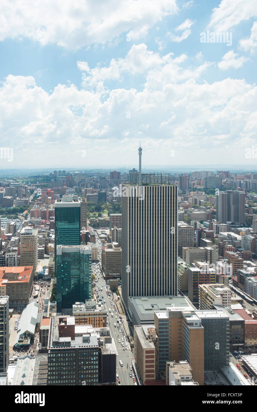 City CBD view from Carlton Centre, Johannesburg, City of Johannesburg Municipality, Gauteng Province, Republic of - Stock Image