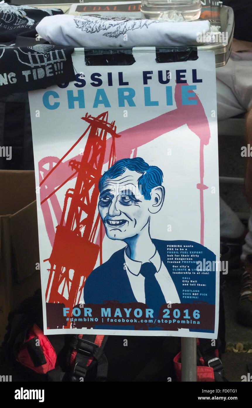 May Day 2015 protest sign titled Fossil Fuel Charlie derides Portland, Oregon mayor Charles Hales - Stock Image