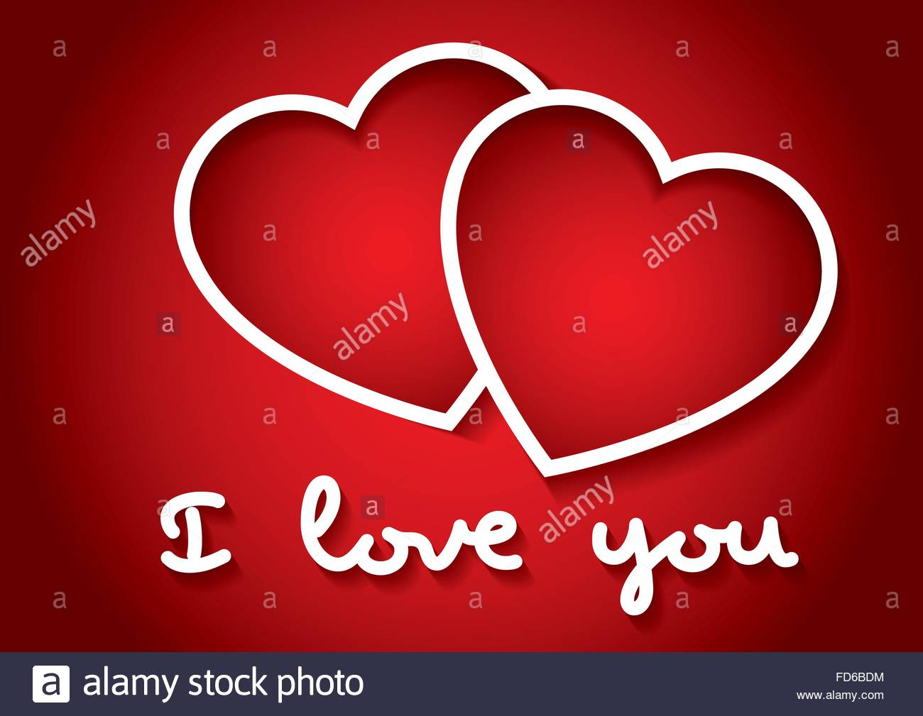 I love you words with two hearts in red. Valentines day, love ...