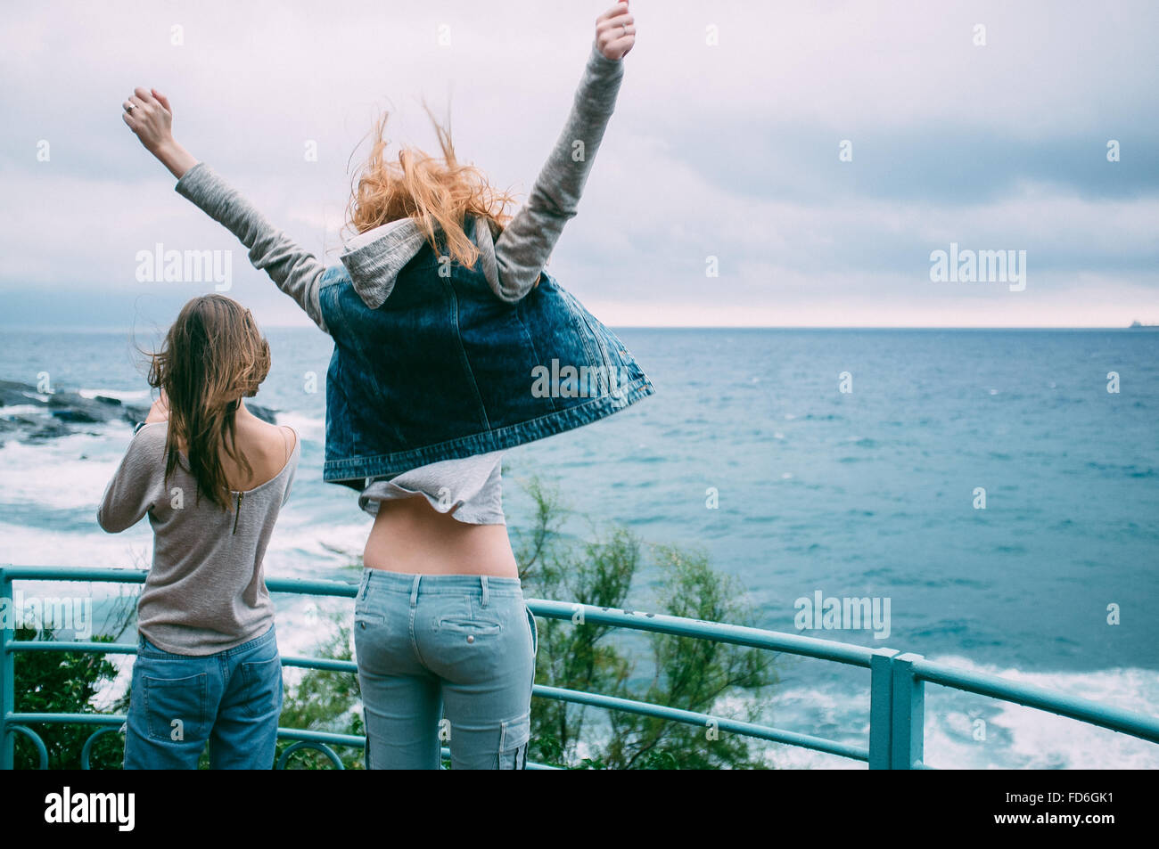 Two Young Women On Promenade - Stock Image