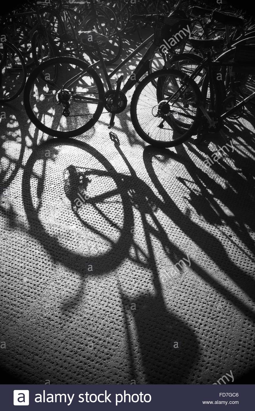 Bicycles parked in racking. Bristol, UK.Stock Photo