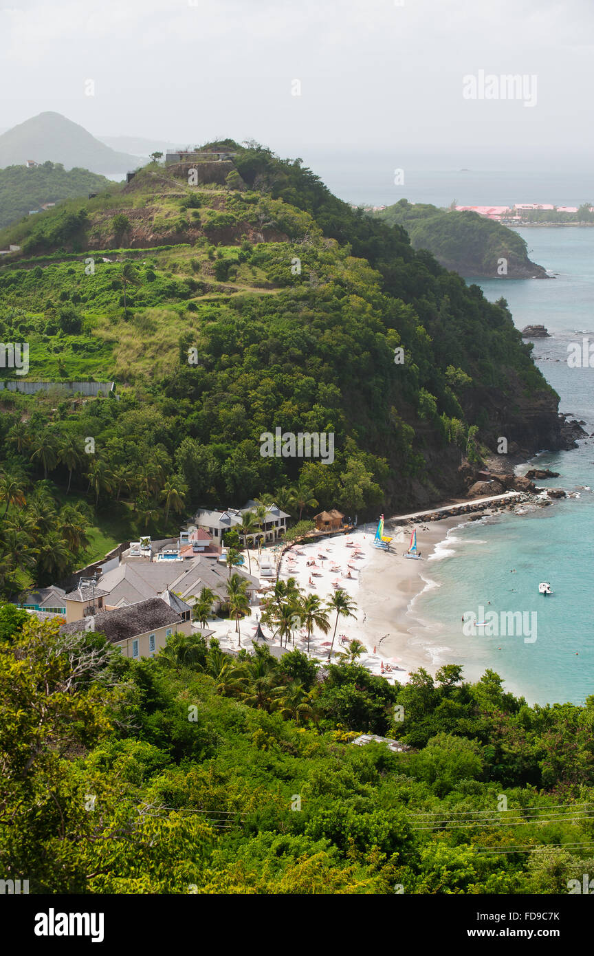 Rooftops of resort with private beach on Caribbean island of St Lucia Stock Photo
