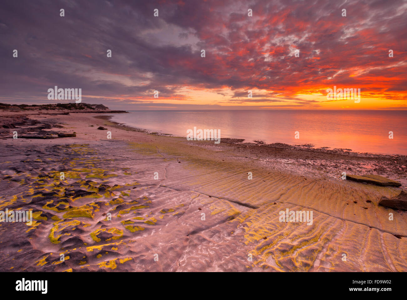 Sunset on the coast of Cape Range National Park in Western Australia. Stock Photo
