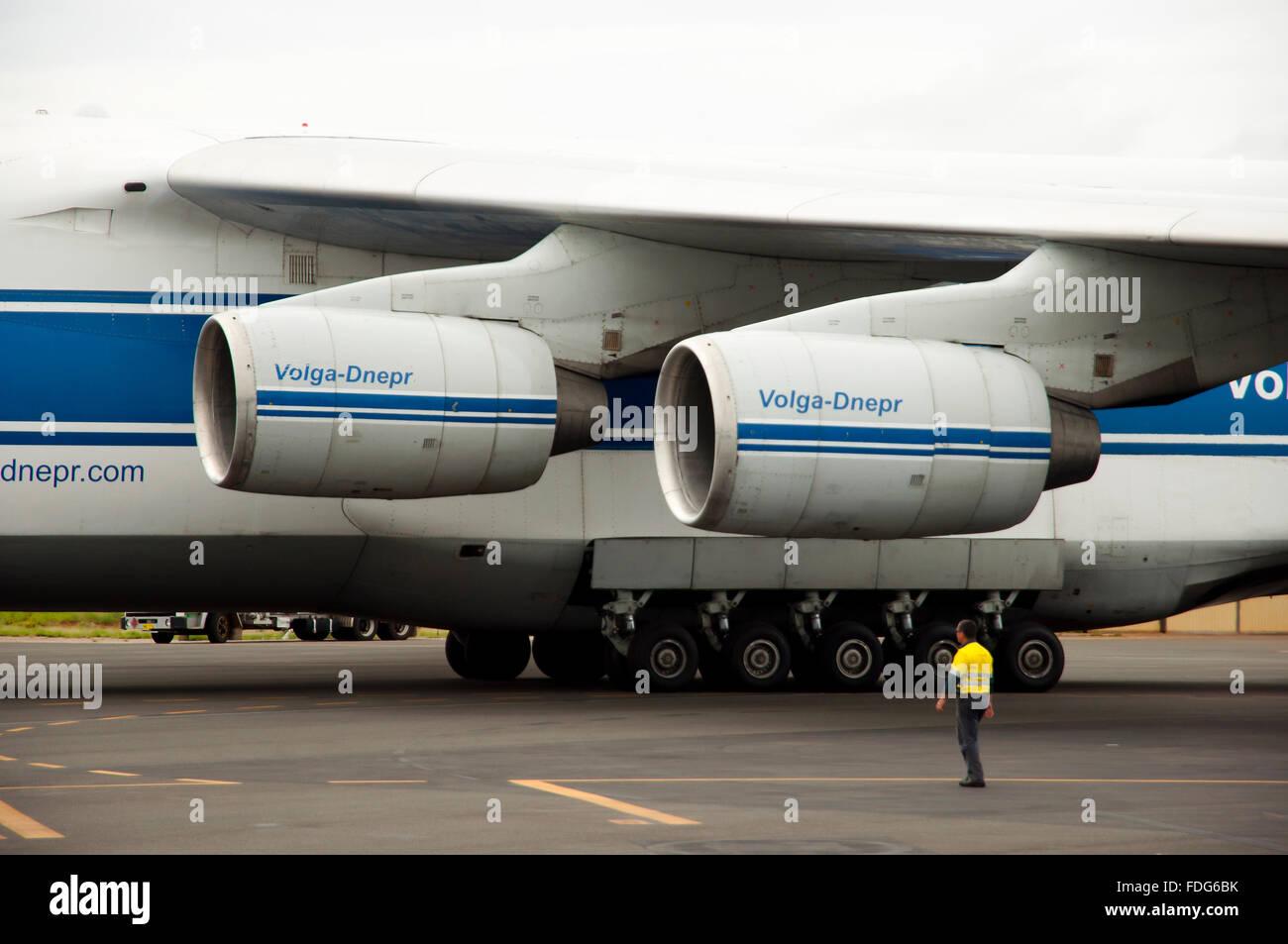 Russian Volga-Dnepr Antonov (AN-124) cargo airplane - Stock Image