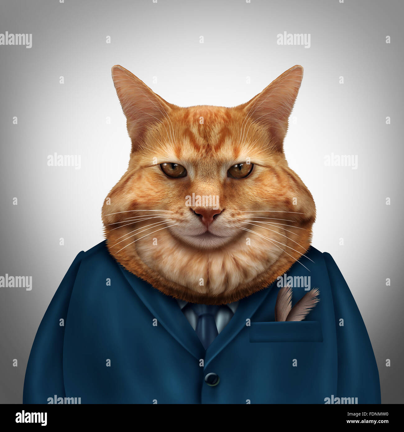 Business fat cat character as a feline tycoon businessman character as a symbol for a wealthy boss or a greedy and - Stock Image