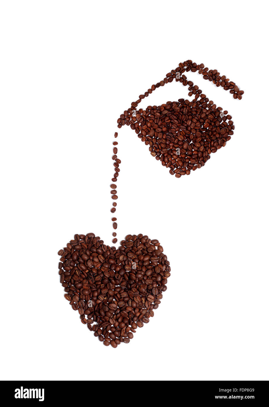 Studio shot of a Coffee Lover's Heart Made of Coffee Beans - Stock Image
