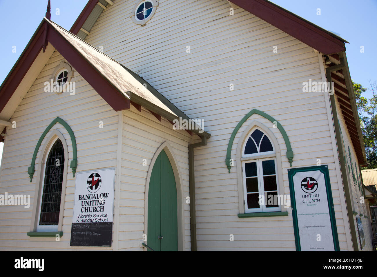 Uniting church in the village of Bangalow in northern new south wales,australia - Stock Image