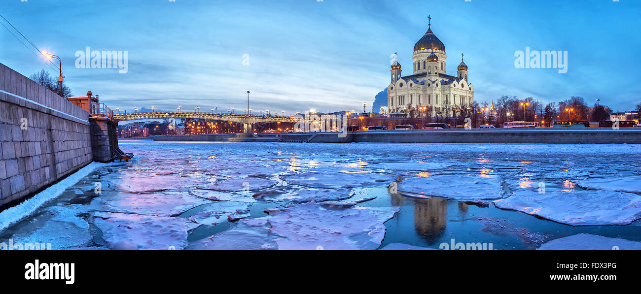 Panoramic image of Moscow River near Christ the Savior Temple with floe in the winter evening, Moscow, Russia - Stock Image