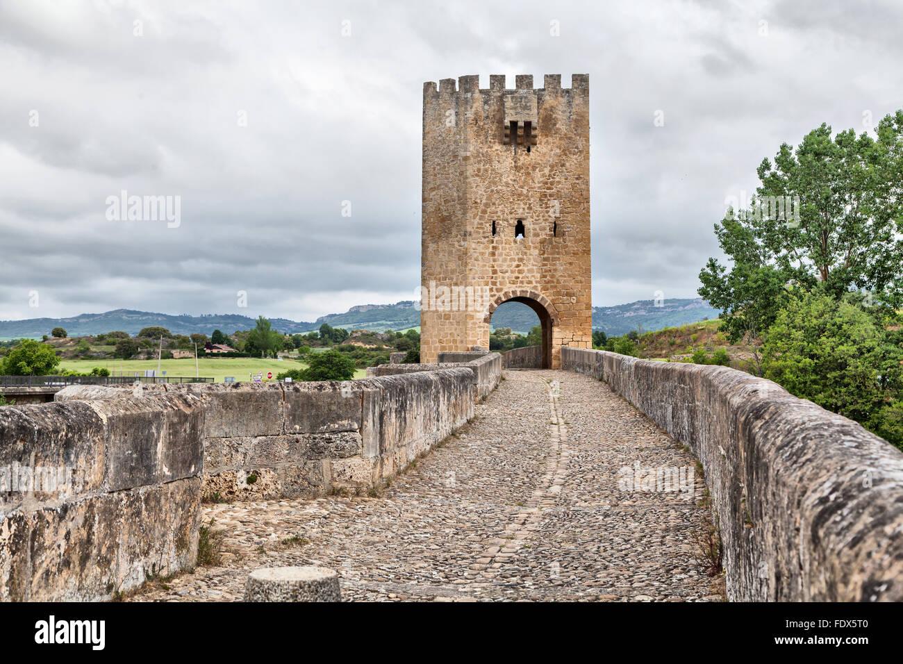 Medieval stone bridge in Frias, Burgos province, Spain - Stock Image