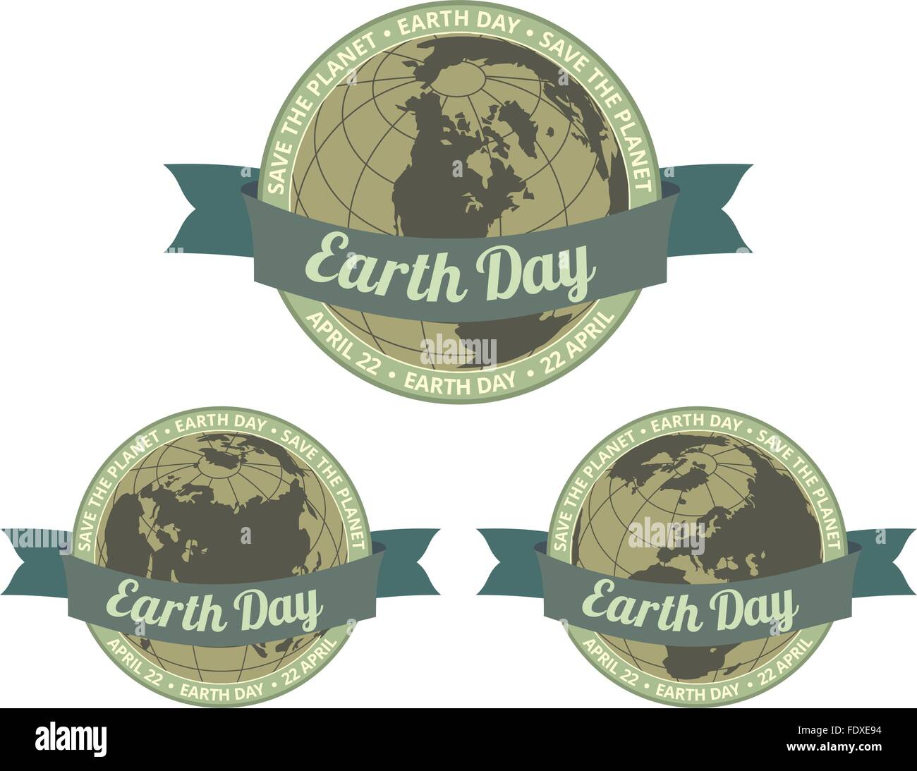 Set of globes with Earth day written inside old style banner and Save the planet slogan around. EPS8 vector illustration. - Stock Image