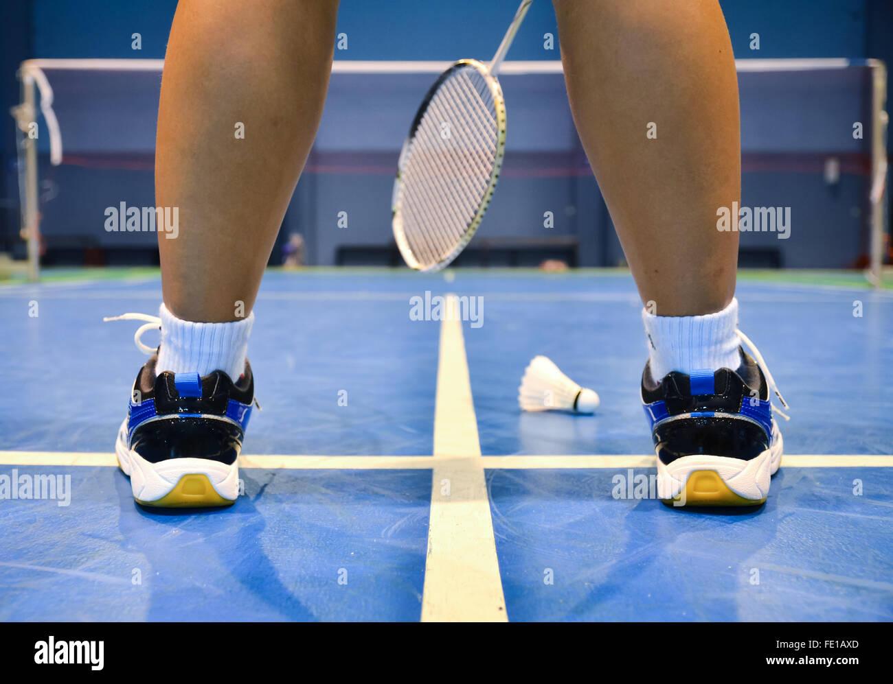 badminton court with badminton player - Stock Image