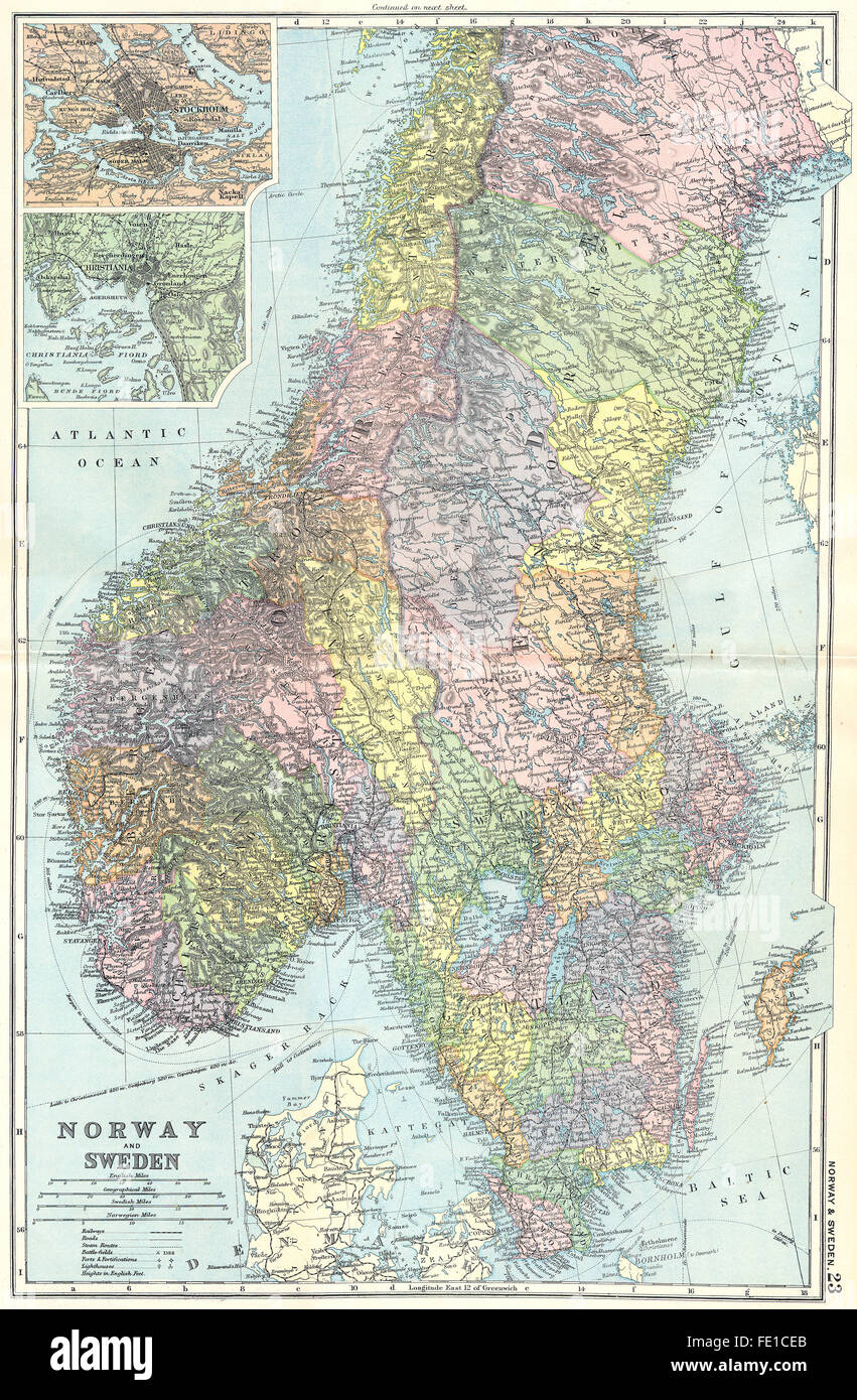 SCANDINAVIA: Norway & Sweden; Stockholm; Oslo, 1905 antique map ...