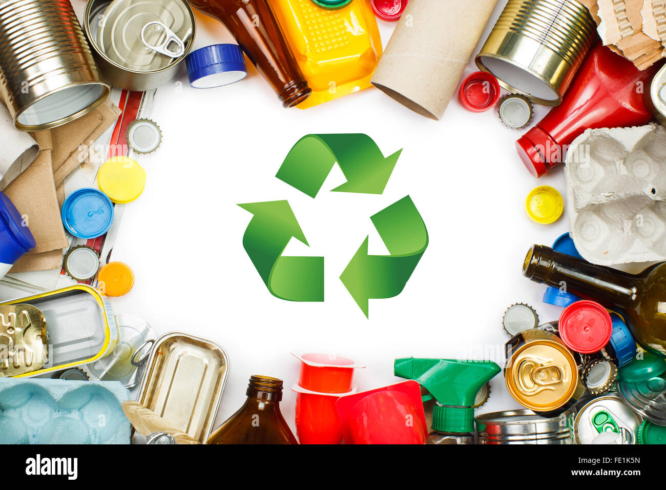 A selection of garbage for recycling. Segregated metal, plastic, paper and glass - Stock Image
