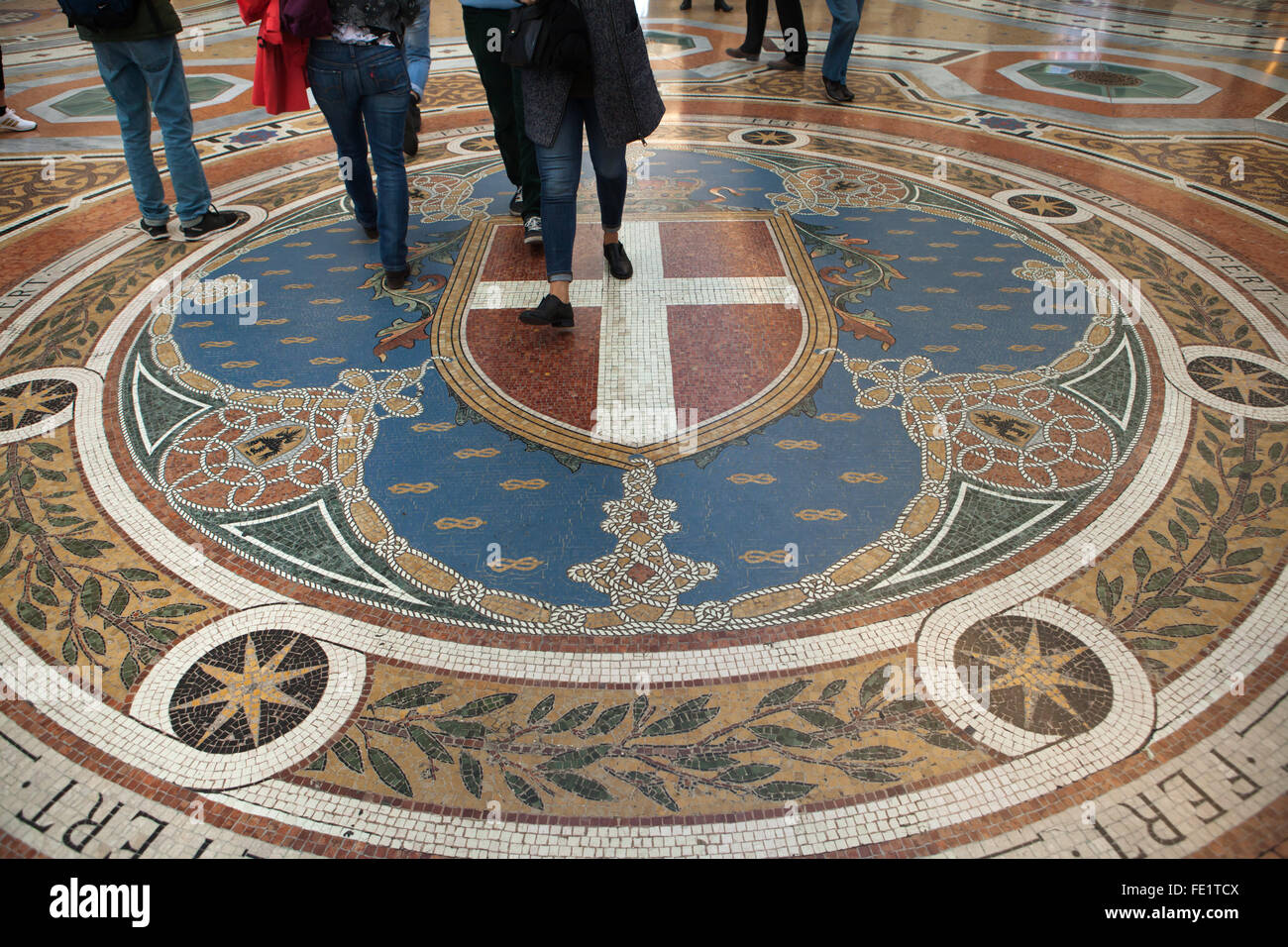 Coat of arms of the House of Savoy depicted on the mosaic floor in the Galleria Vittorio Emanuele II in Milan, Lombardy, - Stock Image